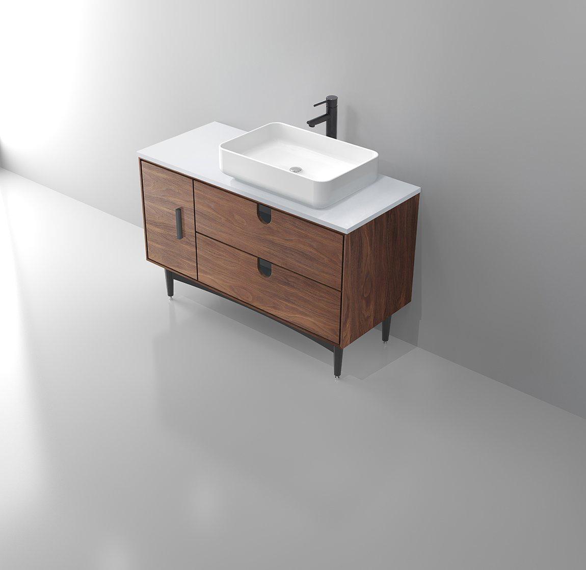 Portree 48 Walnut Mid Century Free Standing Bathroom Vanity Keetchen
