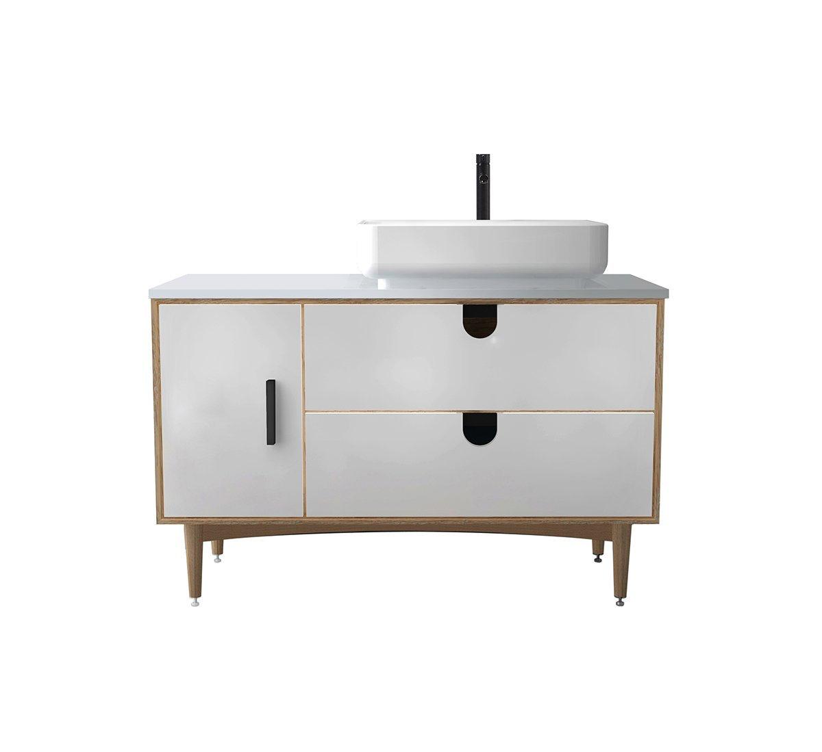 Image of: Portree 48 Matte White Mid Century Free Standing Bathroom Vanity Keetchen