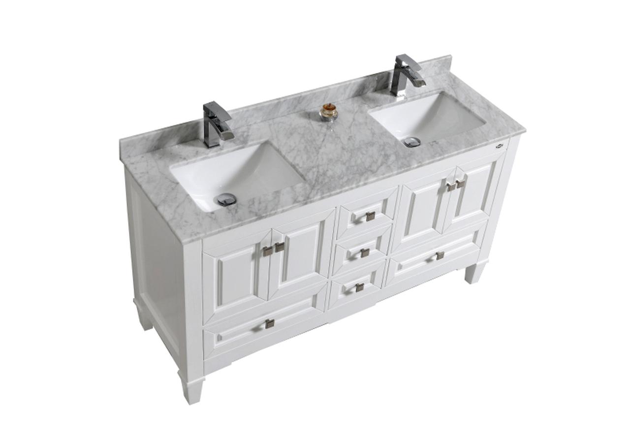 60 Double Sink White Bathroom Vanity