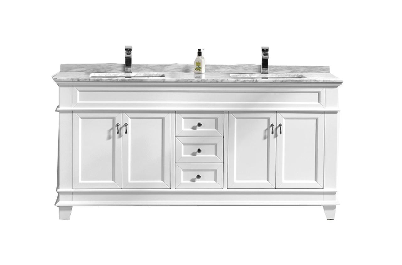 72 Double Sink White Bathroom Vanity