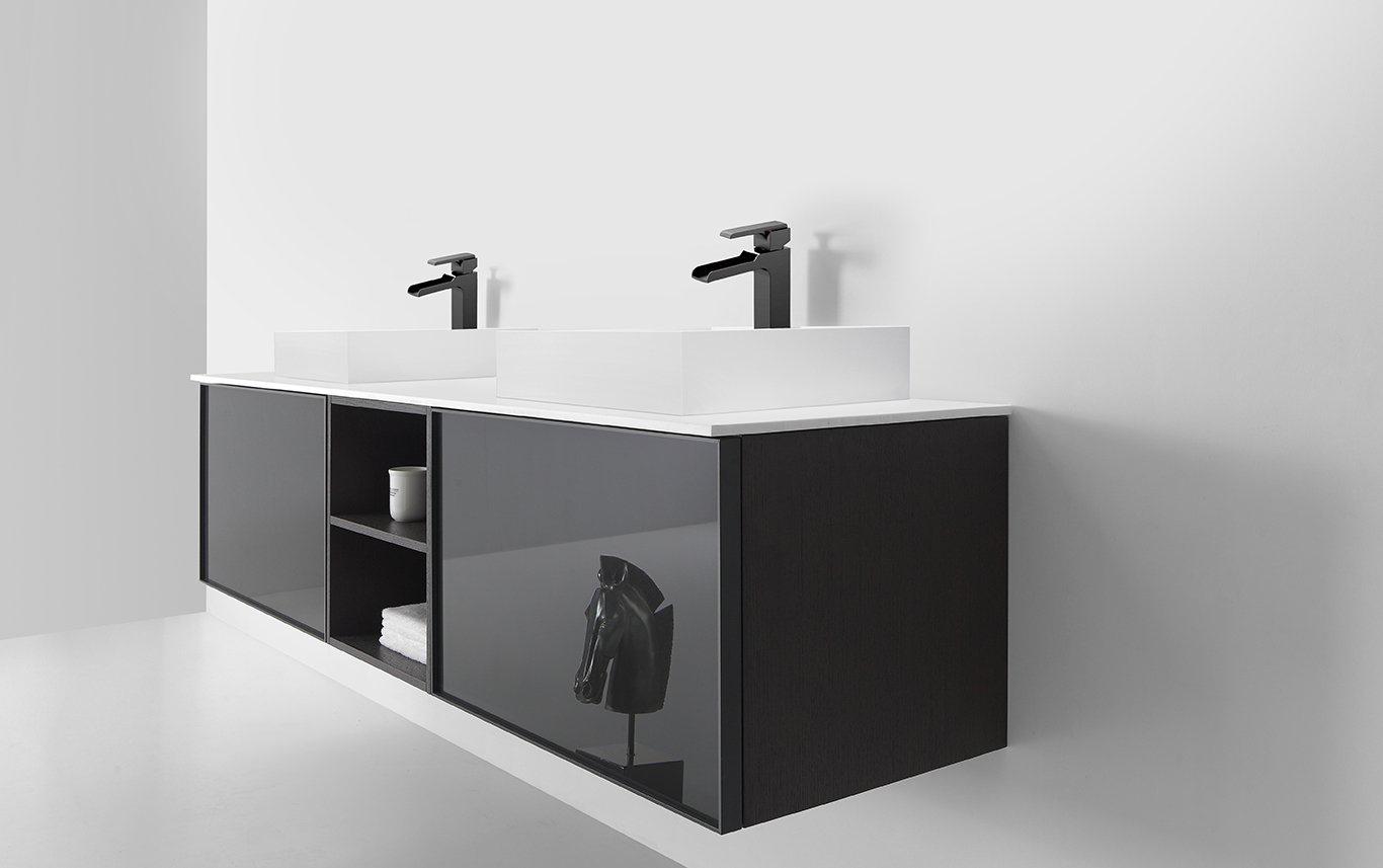 Manarola 72 Gloss Gray Wall Mount Modern Bathroom Vanity Open Shelves Keetchen