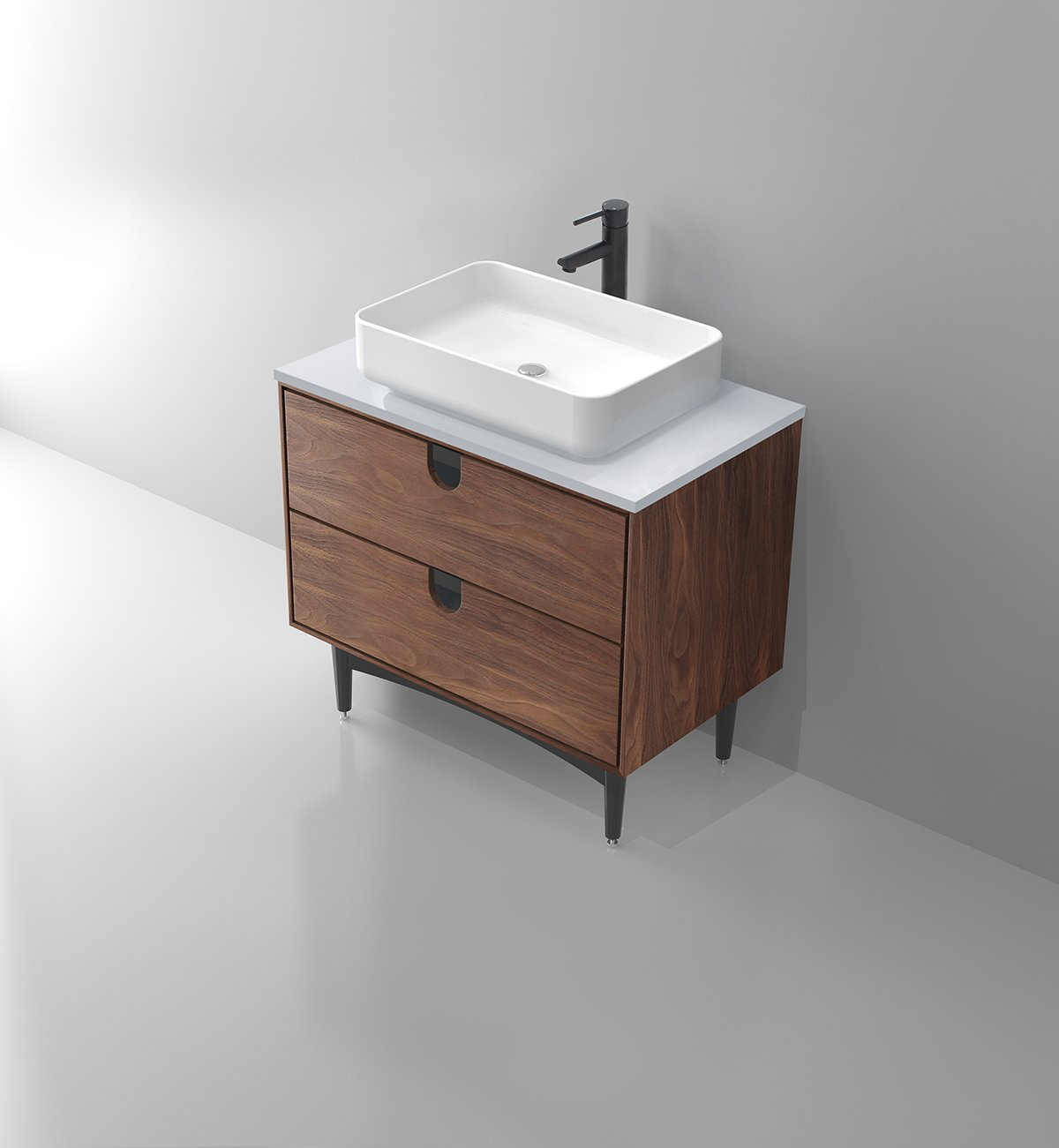 Portree 30 Walnut Mid Century Bathroom Vanity Keetchen