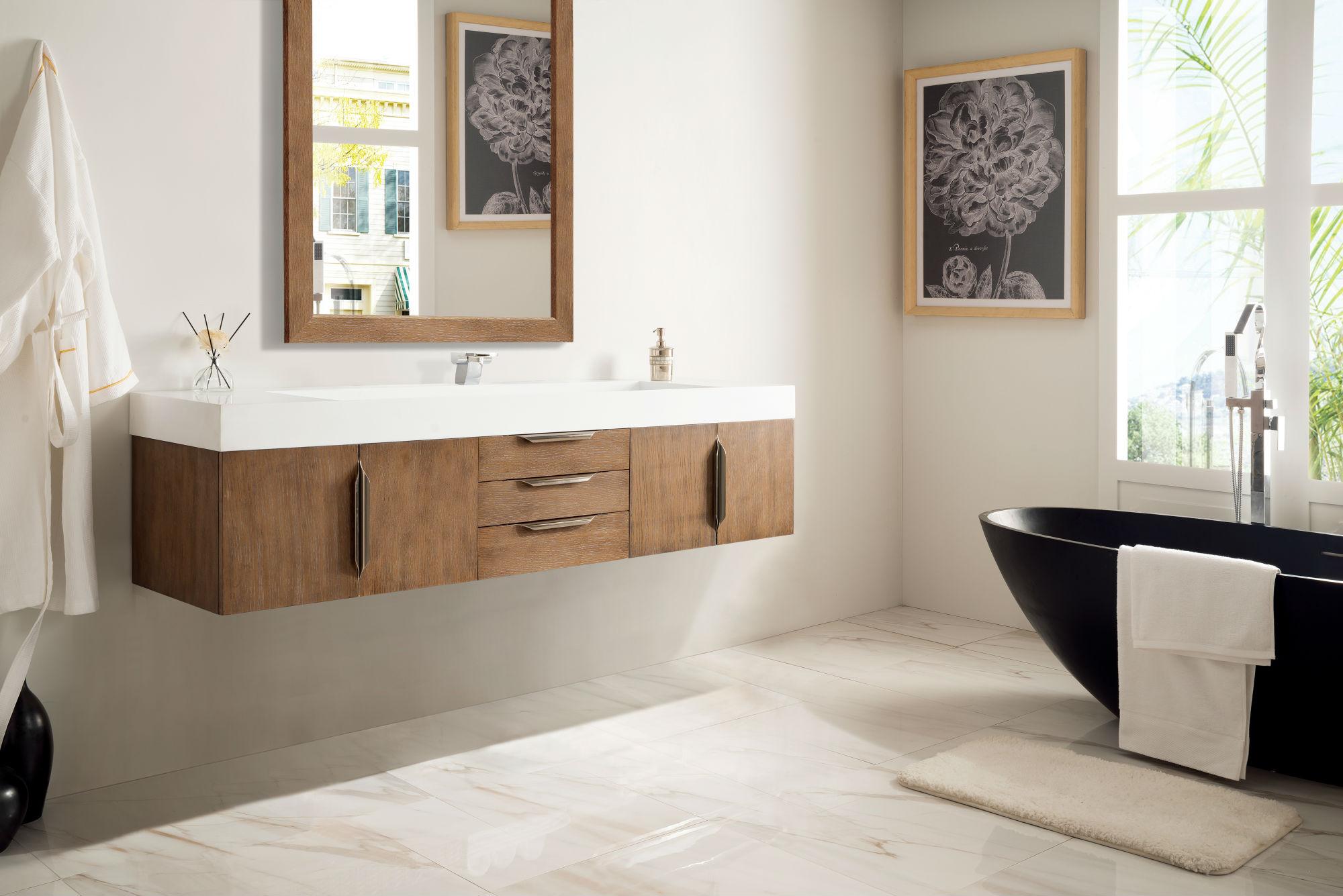 Mercer Island 72 Single Bathroom Vanity Latte Oak Brushed Gold Hardware Gloss White Sink Keetchen